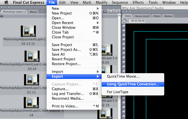 Step 2: Go to File --> Export --> Using Quicktime Conversion